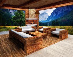 wooden- lodge- furniture -sofa-pavilion 3D model