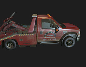 3D asset rigged Red Tow Truck