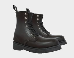3D asset Black Leather Ankle Boots