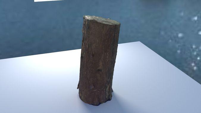 small log  low-poly 3d model 3d model obj mtl blend 1