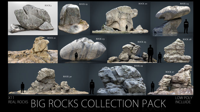 big rocks collection pack 3d model max obj mtl fbx ma mb stl 1