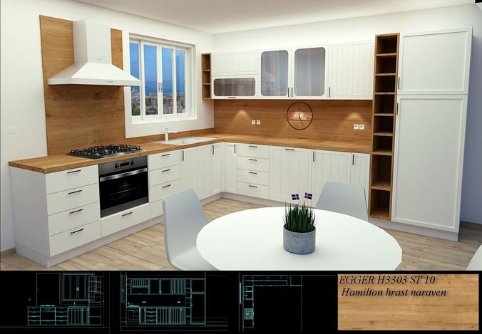 scandinavian style kitchen modern design 3d model