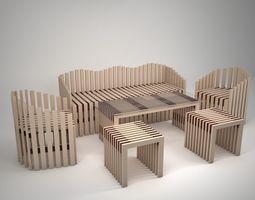 Set Wood Furniture 3D