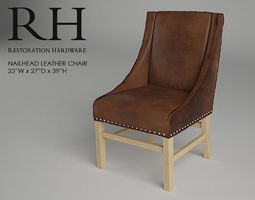 restoration hardware nailhead leather chair 3d model