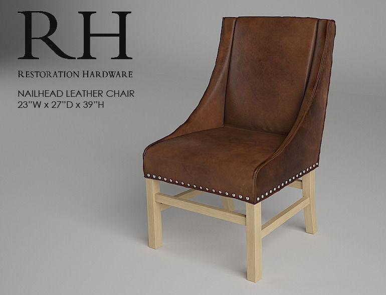 Restoration Hardware Nailhead Leather Chair 3d Model Max Fbx 1