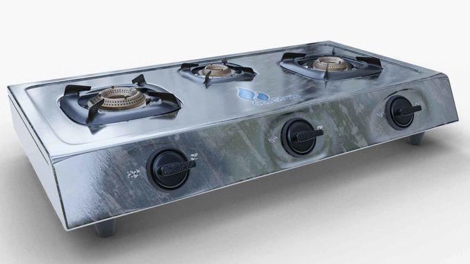 gas stove stainless steel 3d model obj mtl fbx blend 1