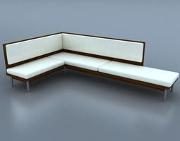 Sectional Sofa White Leather 3D model VR / AR ready