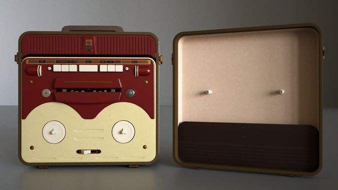 mg56 retro bobbin tape recorder midpoly 3d model obj mtl fbx blend 1