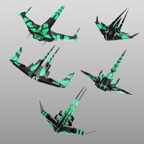 alien spaceship set 3d model low-poly obj fbx blend mtl 1
