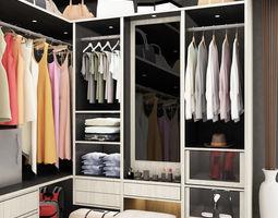 Black and white dressing room 3d model