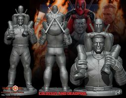 Colossus and Deadpool combo 3D print model