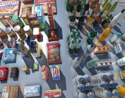 Supermarket Products with LOD 3D model