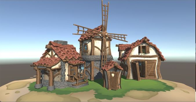 stylized farm buildings 3d model low-poly fbx ma mb tga 1