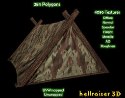 military tent 4 - textured realtime 3d asset