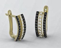 Earrings 3d print model three strips earring stl 3dm file