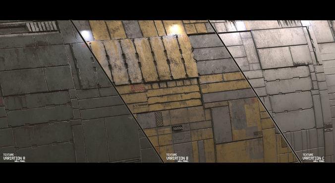 scifi wall panel texture set c 3d model  1