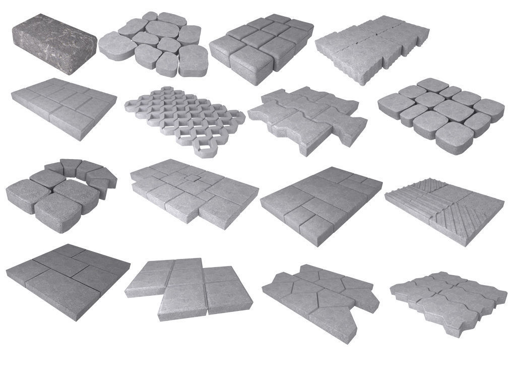 A set of stones for paths and pavement roads