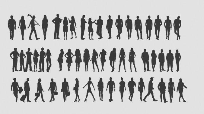 3d people silhouettes  3d model max obj mtl 1