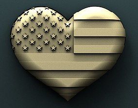 American heart 3d stl model for cnc