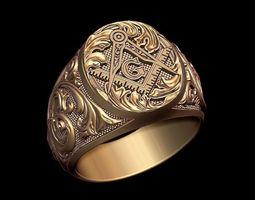 masonic ring jewelry 3D printable model