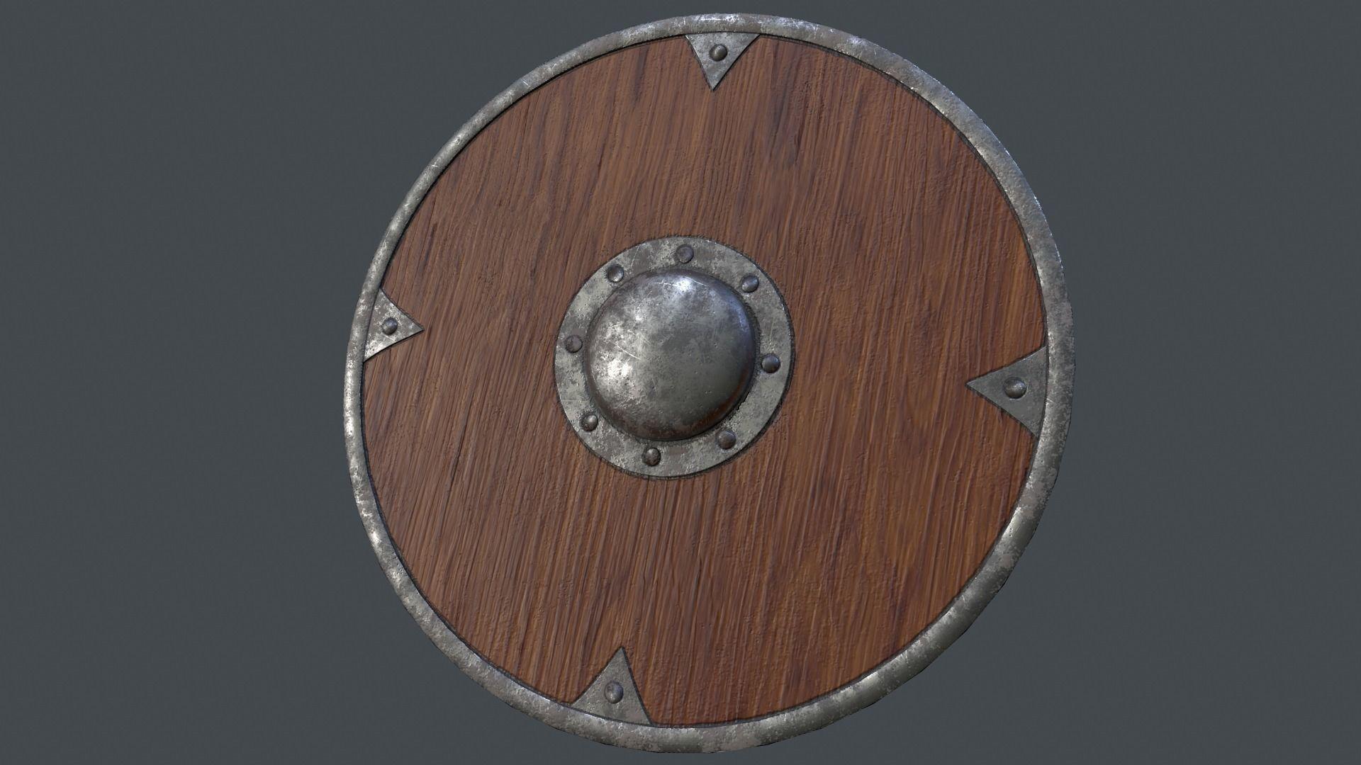 Spiked Brown Viking Shield 3d Model Low Poly Obj Mtl Fbx 1