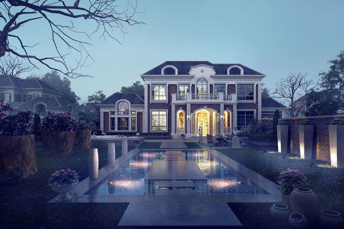 3d villa 035 3d model max tga 1
