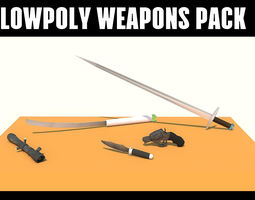 VR / AR ready 3d asset lowpoly weapons pack