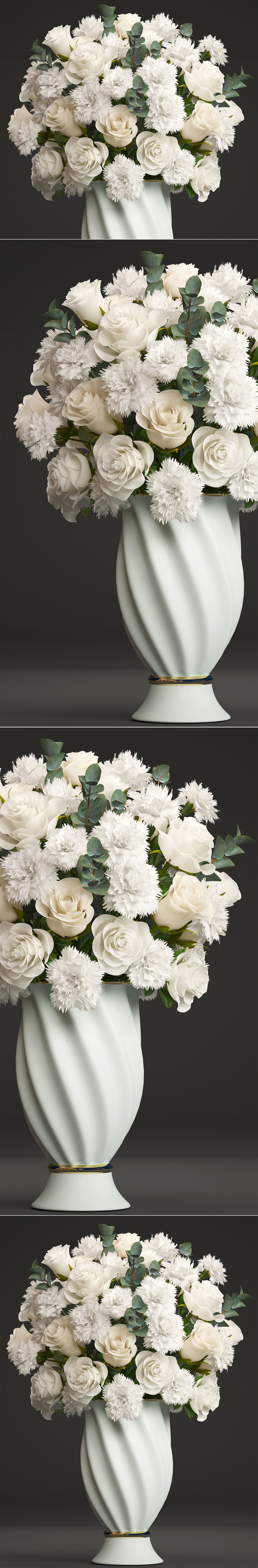 Bouquet Of White Flowers 3d Cgtrader