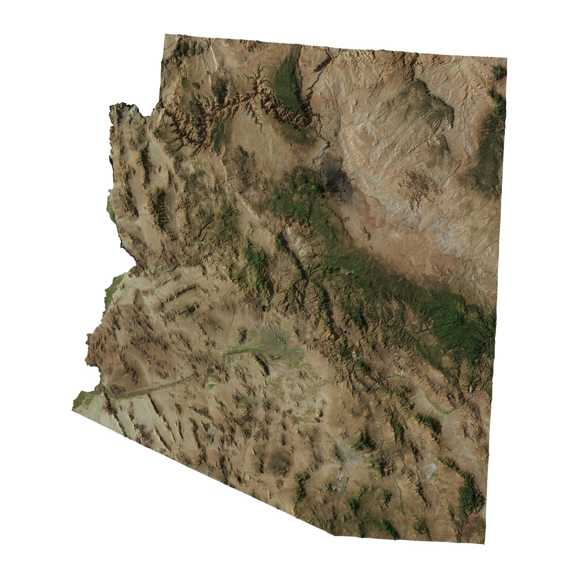 3d Map Of Arizona.High Detailed Relief Map Of Arizona 3d Model