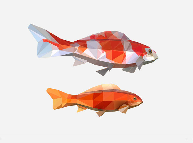 animated low poly art flock carp koi fish 3d model low-poly rigged animated max fbx ma mb 1