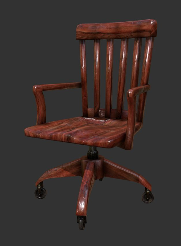 ... antique wooden desk chair office 3d model low-poly obj mtl fbx ... - 3D Asset Antique Wooden Desk Chair Office CGTrader