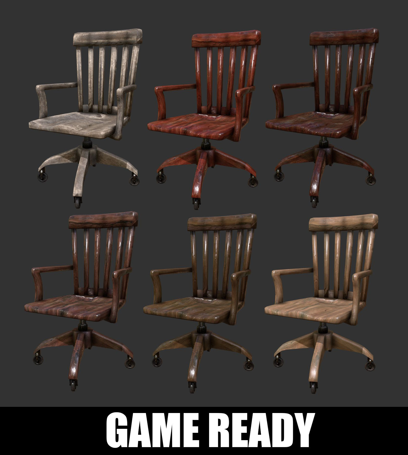 Miraculous Antique Wooden Desk Chair Office 3D Model Uwap Interior Chair Design Uwaporg