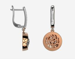 Rose gold diamond earrings 3d print model Drop earrings 1