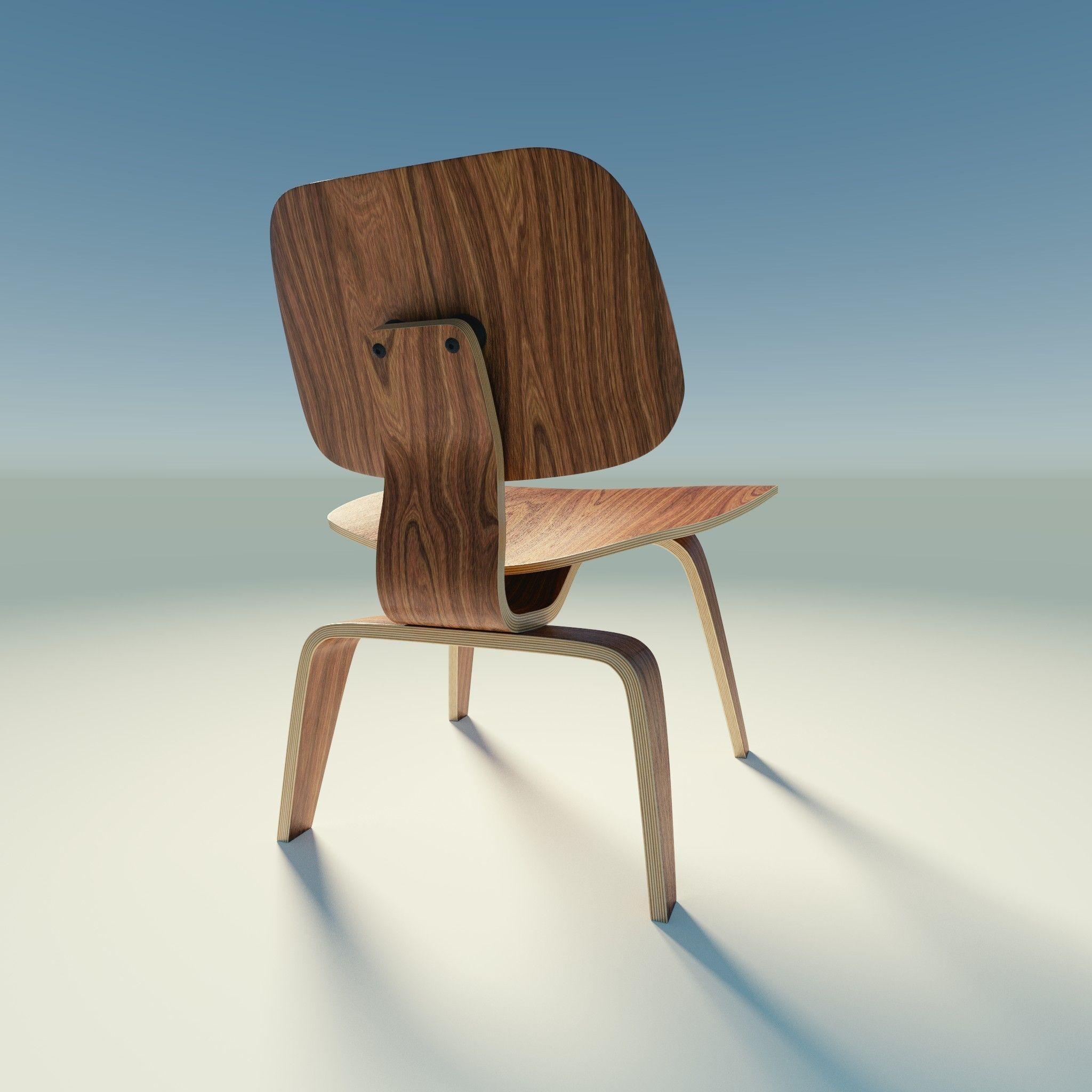 ... Eames Lounge Chair Wood Lcw 3d Model Obj Blend 9 ...