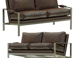 3D model Crate and Barrel Milo Baughman Leather Settee