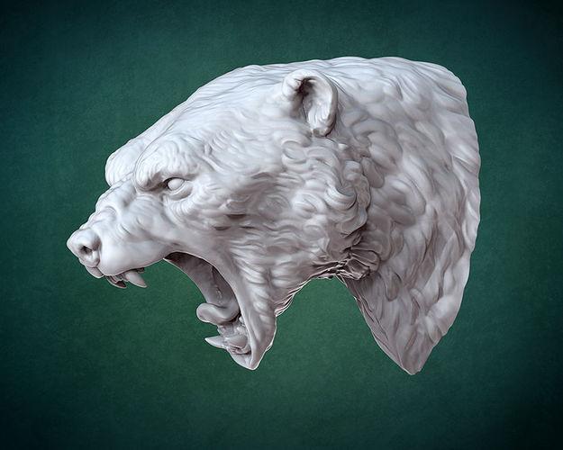 bust of polar bear 3d model stl 1