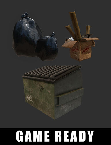 trash bag dumpster cardboard box 3d model low-poly obj mtl fbx 1