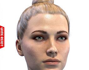 3D asset low-poly Average Caucasian Female Head