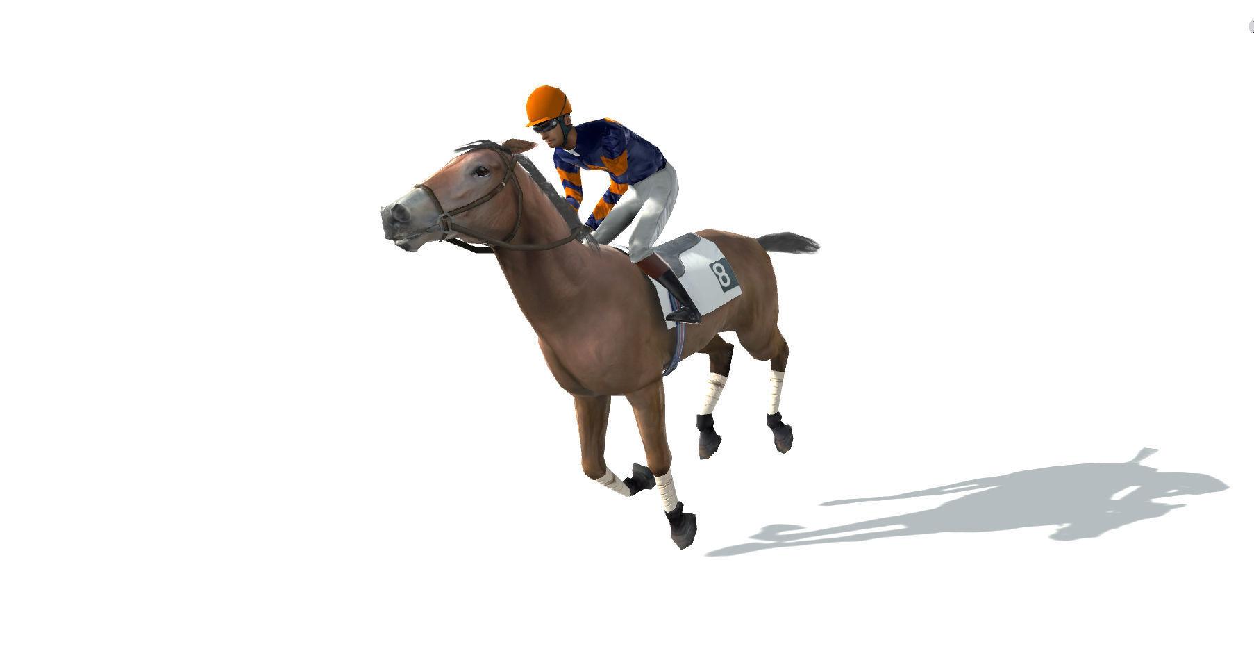 Race Horse and Jockey with LOD