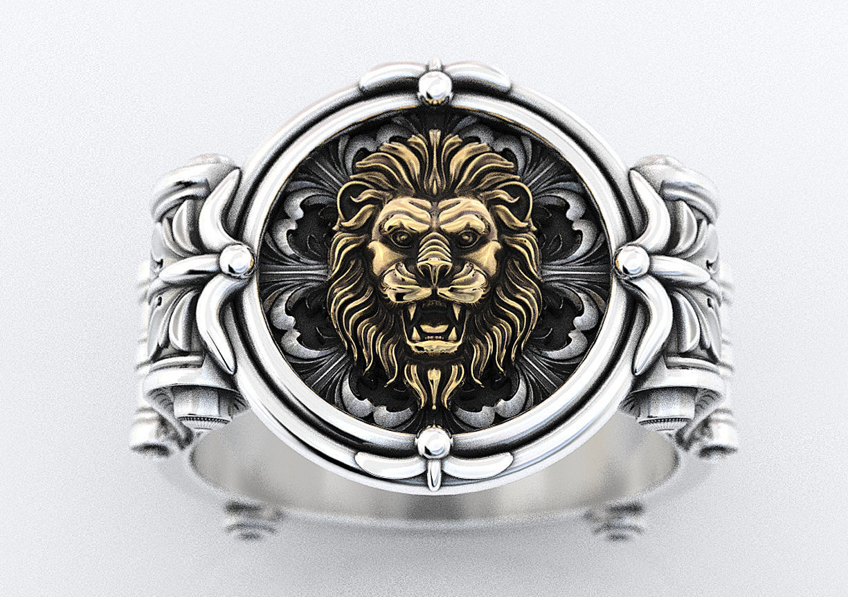 An ancient lions ring with patterns 373