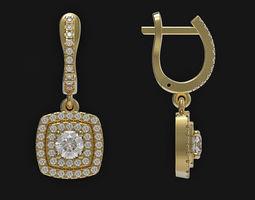Dangle earrings 3d print model English lock printable 2