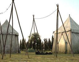 3d model of tent scene in field camp VR / AR ready