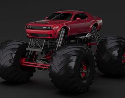 Monster Truck Dodge Challenger Demon 3D model