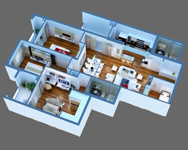 3D Model Luxury Detailed House Cutaway