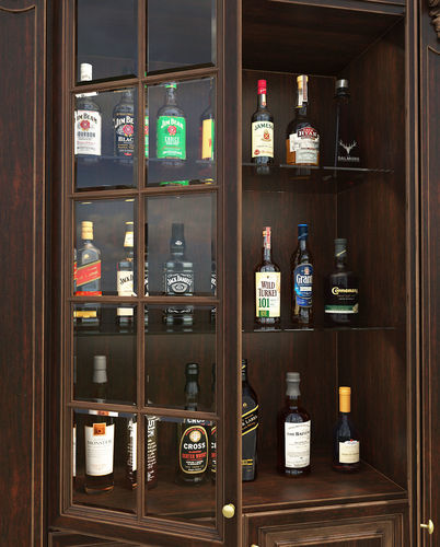 ... Liquor Display Cabinet 3d Model Max Obj Fbx Mtl 11