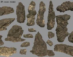 3D asset desert rocks set