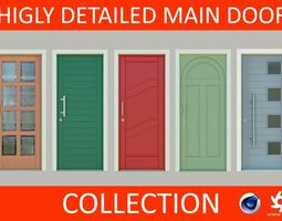 3D model Higly detailed Main Door Collection