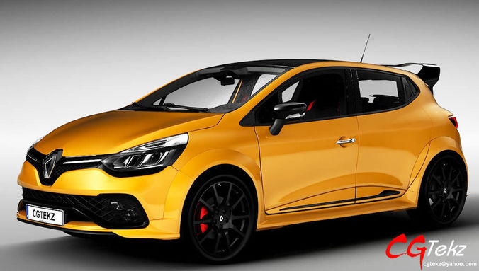 renault clio rs 2018 3d model cgtrader. Black Bedroom Furniture Sets. Home Design Ideas