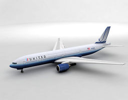 3D asset Boeing 777 Airliner - United Airlines