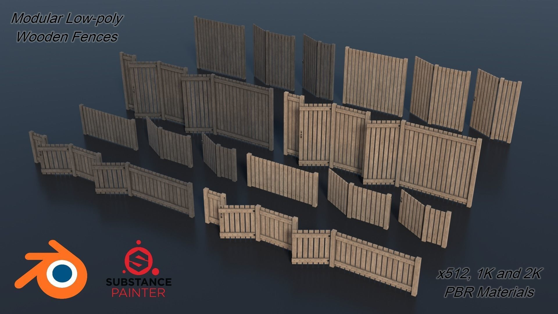 Low-poly Modular Wooden Fence set PBR